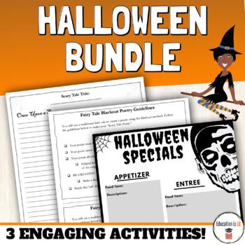 halloween ela activities bundle high school poetry short story imagery. Black Bedroom Furniture Sets. Home Design Ideas
