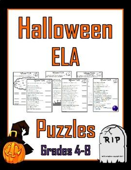 Halloween ELA Puzzles (Grades 4-8)