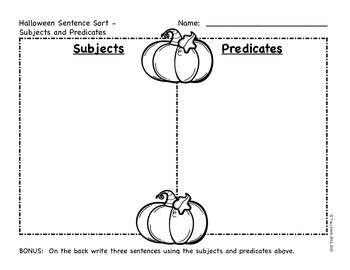 Halloween ELA Sorts - Nouns, Main Idea, Subject/Predicate and MORE!