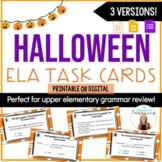 Halloween Grammar Task Cards | Fall Digital ELA Task Cards