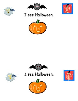 Halloween ESL emergent reader I see book numbers 1-10 pictures pumpkins fall bat