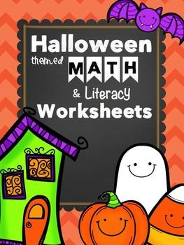 Halloween Easy Print Worksheets Math & Literacy