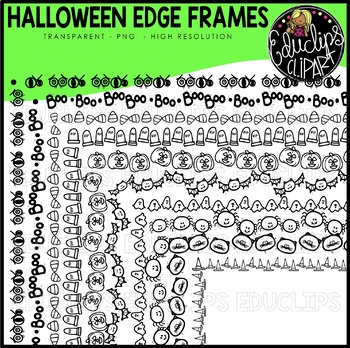 Halloween Edge Frames Clipart Set {Educlips Clipart}
