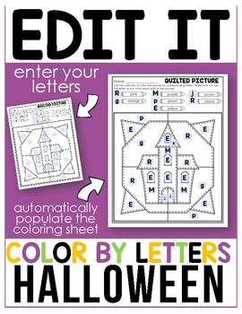 Halloween - Editable Color By Letter
