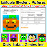 Halloween Editable Mystery Pictures - Any Language! Any Qu