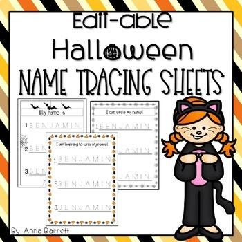 Halloween Editable Name Tracing