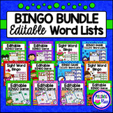 Editable Sight Word Bingo Games BUNDLE