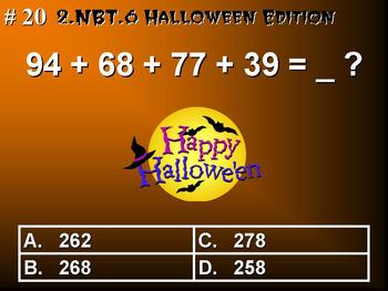 Halloween Edition 2nd Grade Common Core Math 2.NBT.6 Add Four Two-Digit Numbers