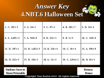 Halloween Edition 4th Grade Common Core Math Quotients and Remainders - 4.NBT.6