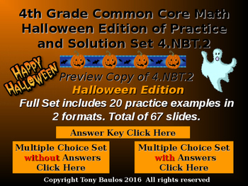 Halloween Edition 4th Grade Math - Compare Two Multi-Digit Numbers 4.NBT.2