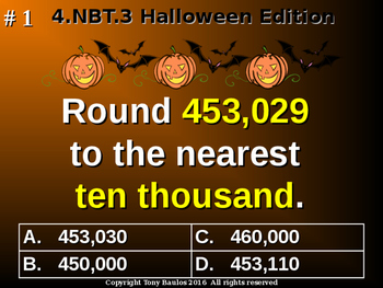 Halloween Edition 4th Grade Math - Round Multi-Digit Whole Numbers 4.NBT.3