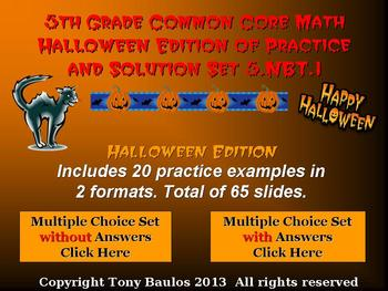 Halloween Edition 5th Grade Common Core Math 5 NBT.1 Understand Place Value