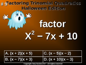 Halloween Edition Factoring Trinomials with Leading Coefficient of 1