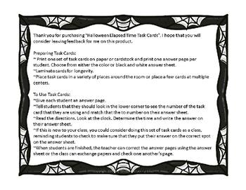Halloween Math Elapsed Time Task Card