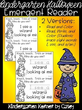Halloween Emergent Reader for Beginner Readers Kindergarten - Read, Write, Color