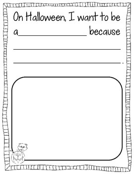 Halloween Emergent Reader (level A and level B included) With Writing Prompt