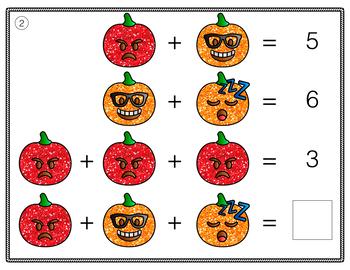 Halloween Math Addition & Subtraction Logic Problem Task Cards | Emoji Puzzles