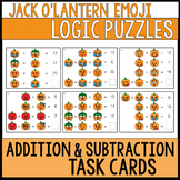 Halloween Math Addition & Subtraction Logic Problem Task Cards | Emoji Puzzles