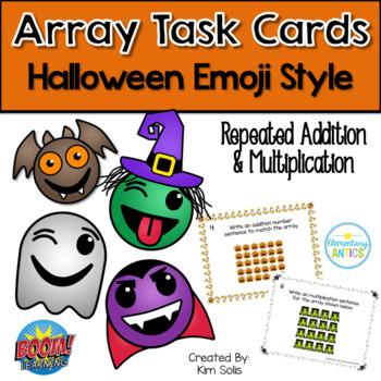 Halloween Emoji Array Task Cards