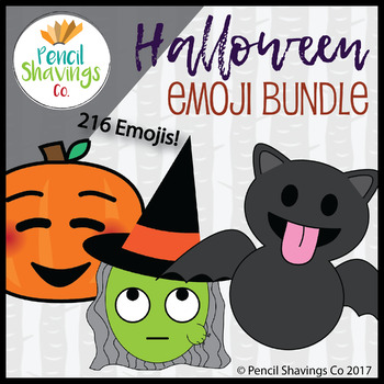 Halloween Emoji Bundle | 216 Total Emojis! by Pencil Shavings Co