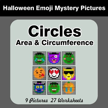 Halloween Emoji: Circles Area & Circumference - Math Mystery Pictures