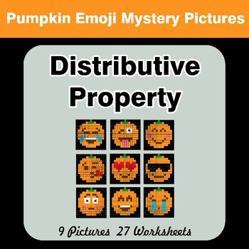 Halloween Emoji: Distributive Property - Math Mystery Pictures / Color By Number