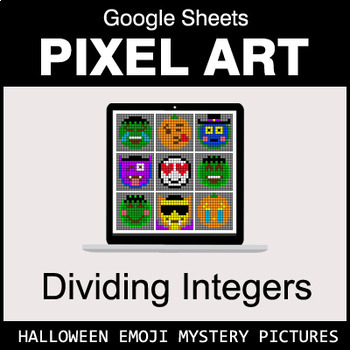 Halloween Emoji - Dividing Integers - Google Sheets Pixel Art