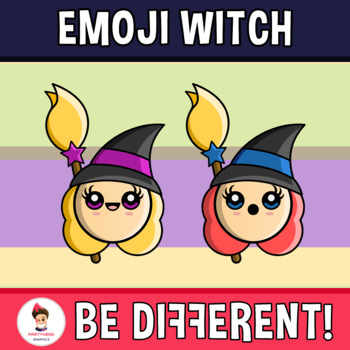 Halloween - Emoji Emotion Faces Witch Clipart