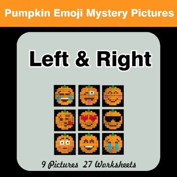 Halloween Emoji: Left & Right side - Color by Emoji - Mystery Pictures