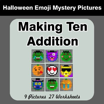 Halloween Emoji: Making Ten Addition - Math Mystery Pictures / Color By Number