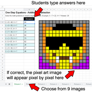 Halloween Emoji - One-Step Equations - Addition & Subtraction - Google Sheets