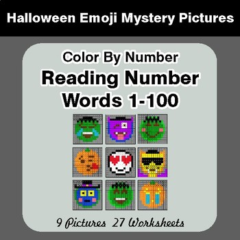 Halloween Emoji: Reading Number Words 1-100 - Color By Number - Mystery Pictures