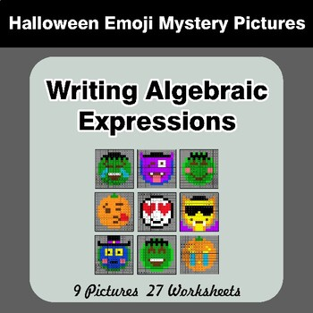 Halloween Emoji: Writing Algebraic Expressions - Math Mystery Pictures