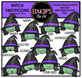 Halloween Emoticons Clip Art Super Bundle  {Educlips Clipart}