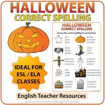 Halloween English Spelling Worksheet