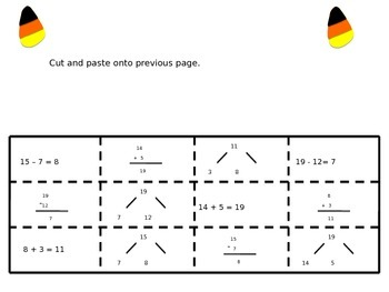 Halloween Equations, Vertical Form and Math Mountains (Cut and Paste)