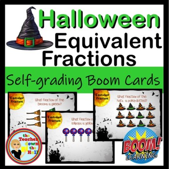 BOOM Halloween Equivalent Fractions - BOOM Cards! (24 Self-checking Cards!)