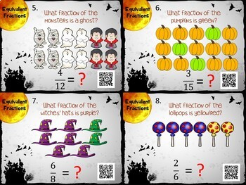 Halloween Equivalent Fractions Task Cards w/ QR Codes - Halloween Fun!
