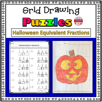 Halloween Equivalent Fractions Worksheets: Grid Drawing Math Fun!