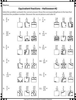 halloween equivalent fractions worksheets grid drawing math fun