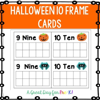 Halloween 10 Frame Cards for Preschool, Prek, and Kindergarten