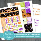Halloween Erin Condren Monthly Planner Printable Stickers