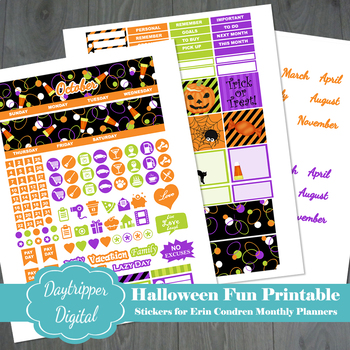 halloween erin condren monthly planner printable stickers by candy