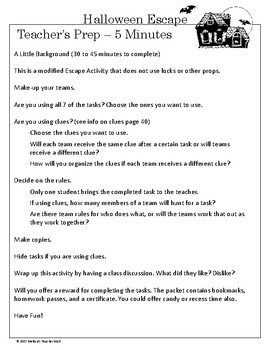 Halloween Escape Room Classroom Game Activity for Parties