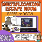 Halloween Escape Room Double Digit Multiplication Digital