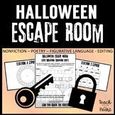 Halloween Escape Room  ELA Halloween Activity