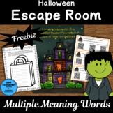 Halloween Escape Room Freebie Multiple Meaning Words