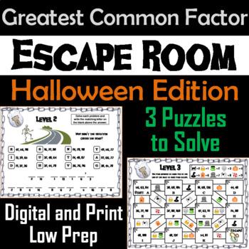 Halloween Escape Room Math: Greatest Common Factor Game (4th 5th 6th 7th Grade)