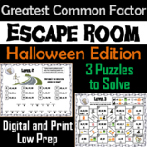 Halloween Escape Room Math: Greatest Common Factor Game (4th 5th 6th 7th Grade)