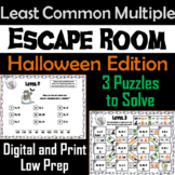 Halloween Escape Room Math: Least Common Multiple Game (4th 5th 6th 7th Grade)